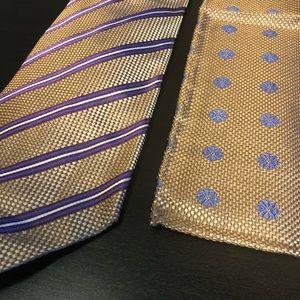Italo Ferretti Silk Tie and Hanky Combo Set
